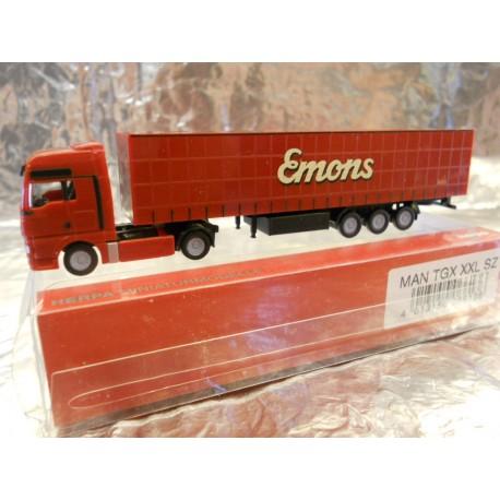 "** Herpa 066136  N Scale MAN TGA XL Curtain Canvas Semitrailer ""Emons"""