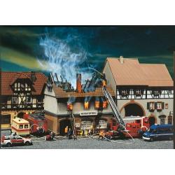 ** Faller 130429 Zur Sonne Burned Down Restaurant Kit III