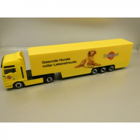 "** Herpa 451239 MAN TGA XXL Box Semitrailer ""Pedigree"" ""MAGIC"""