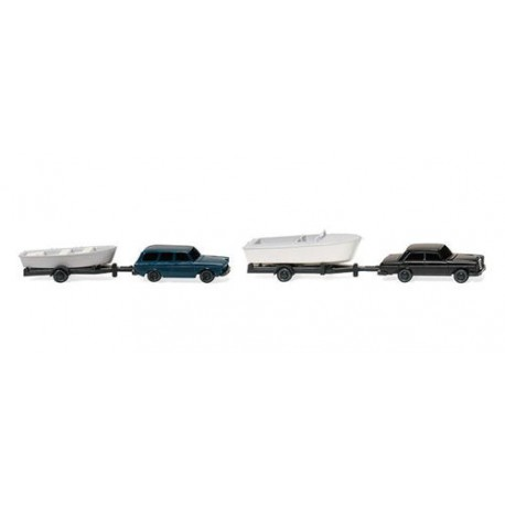 ** Wiking 092139 Cars with Boats on Trailers (2)