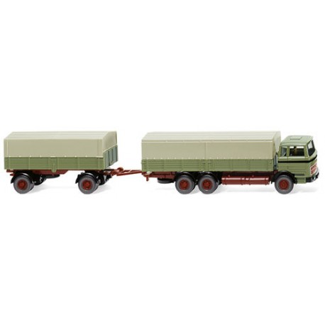 ** Wiking 043306 MB Flatbed Truck & Trailer Reed Green