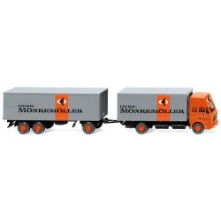 ** Wiking 045901 MB 1638 High Roof Box Trailer Road Train Monkemoller
