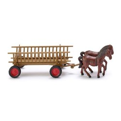 ** Wiking 089302 Open Sided Wagon with Horses
