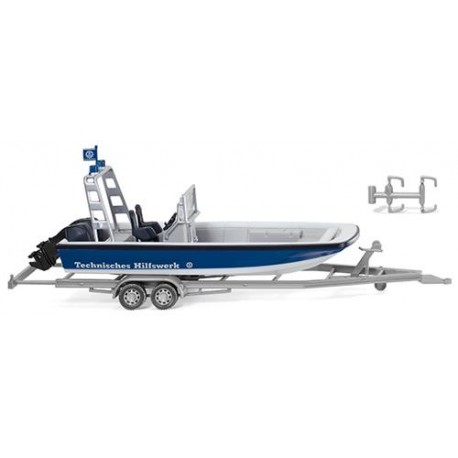 ** Wiking 009546 46 THW Multi Purpose Boat MZB72 (Lehmar) & Trailer