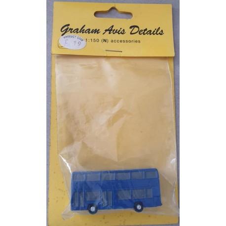 ** Graham Avis Details C19 Double Decker Bus Blue 1:150 N Scale