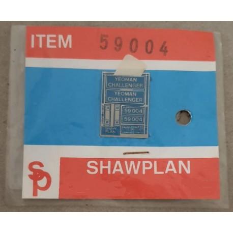 ** Shawplan Name Plates 59004 Yeoman Challenger for 00 / HO locomotives