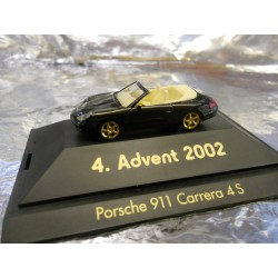 ** Herpa 20024 Advent 4 2002 Black Porsche 911 Carrera 4S with Dsiplay Case