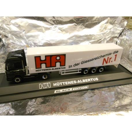 ** Herpa 286596 Mercedes Benz Actros LH Euro Box Semitrailer Hüttenes-Albertus