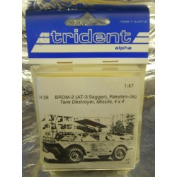 ** Trident 80028 BRDM (AT-3 Sagger ) Tank Destoyer, Missile, 4 x 4 Whitemetal Kit