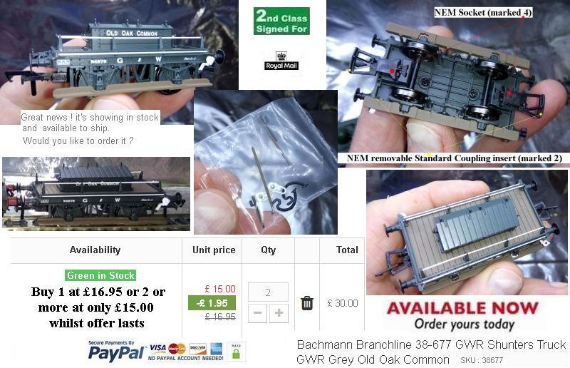 Bachmann Branchline 38-677 GWR Shunters Truck GWR Grey Old Oak Common