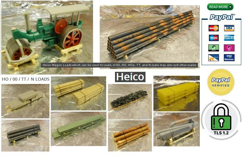 Heico Wagon Loads which can be used for scale of 00, HO, HOe, TT, and N scale may also suit other scales