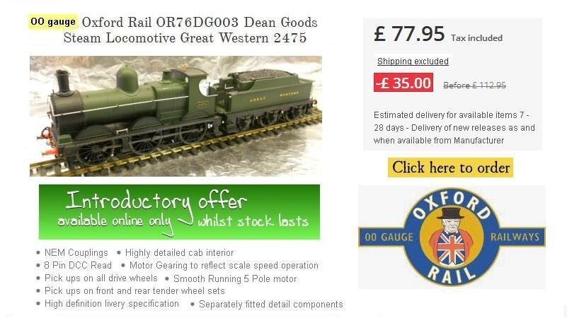 Introductory offer - Whilst stock lasts or offer ends : Oxford Rail OR76DG003 Dean Goods Steam Locomotive Great Western 2475